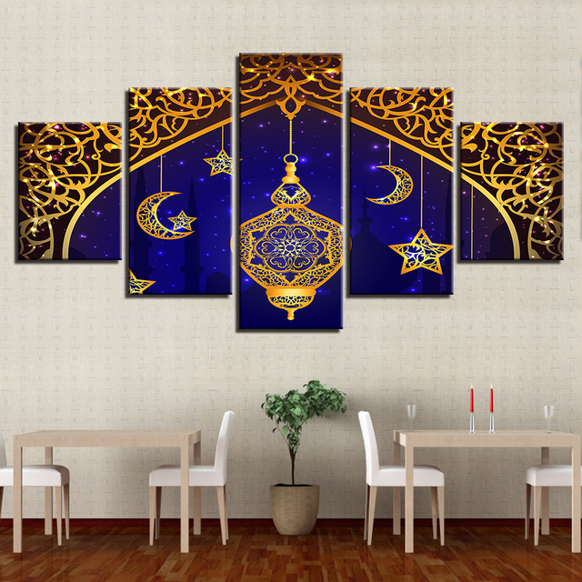 Modular Pictures Home Decor Frame 5 Pieces Islam Allah The Qur'An Poster Muslim Moon Canvas Painting Living Room Wall Art Prints