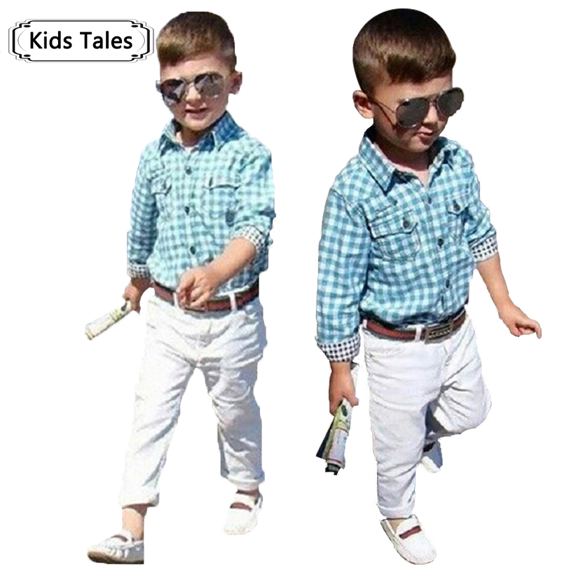 ST154 2018 new fashion boys clothes set kids loose-fitting cotton plaid shirt+ pants+ belt 3 pcs minion kids clothing set retail