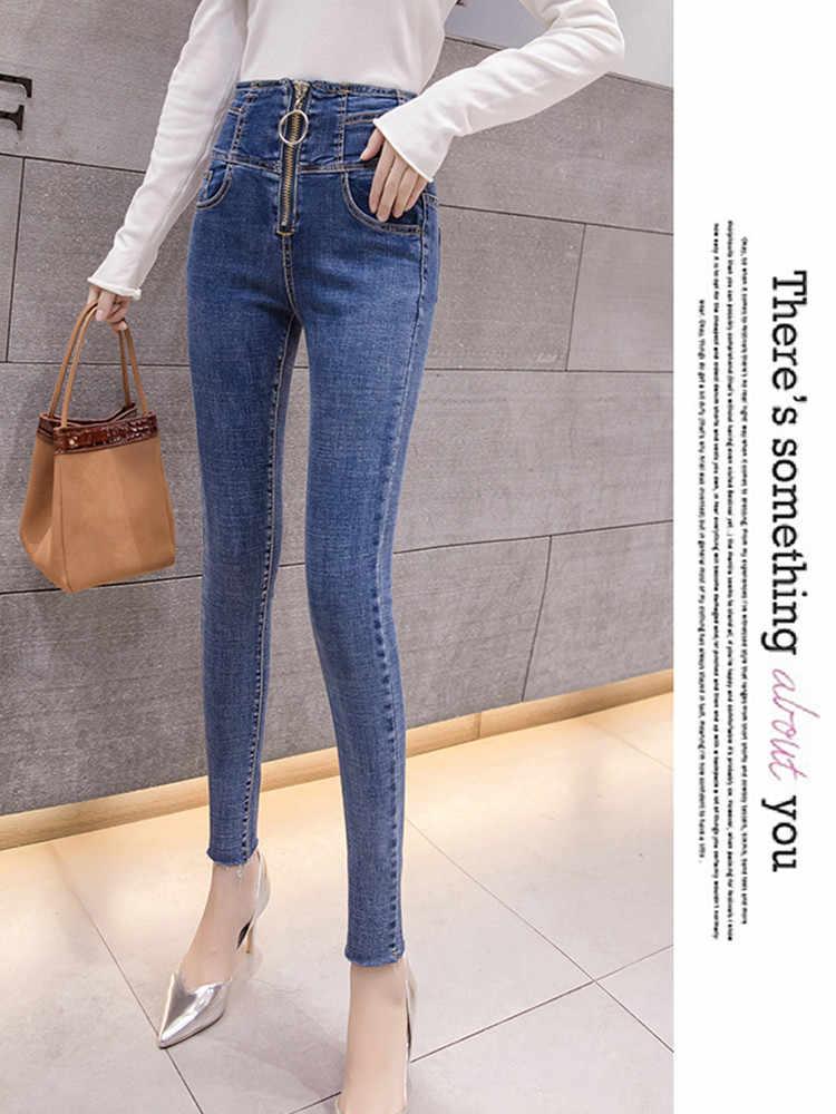 JUJULAND 2019 Jeans Mujer pantalones de mezclilla Color negro mujer Jeans Donna estiramiento pantalones ajustados para mujer Pantalones 6569