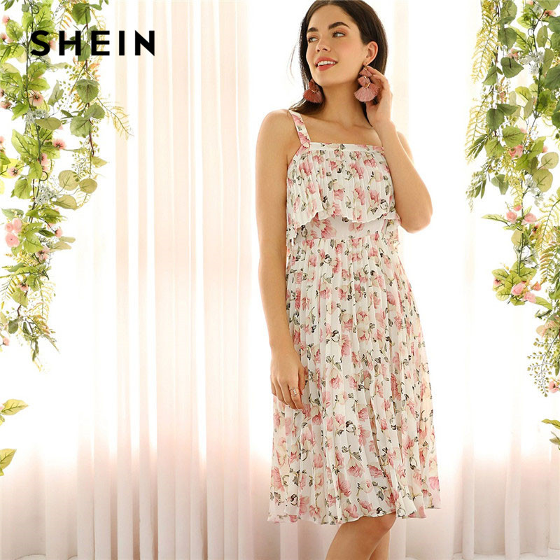 ab8c61a016 Detail Feedback Questions about SHEIN Floral Print Pleated Ruffle Thick  Strap Dress Women 2019 Summer Vacation Beach Sleeveless Bohemian Cami  Dresses on ...