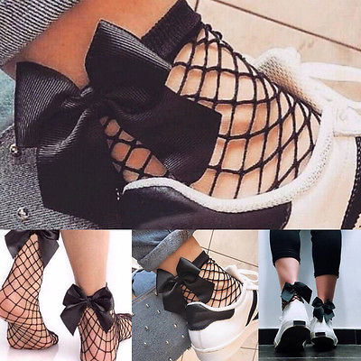 Fashion Hot Women Ruffle Bowknot Fishnet Ankle High Socks Mesh Lace Fish Net Short Socks Drop Shipping
