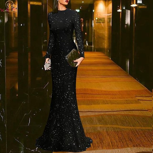 d8f634b432 2019 New Women Mermaid Evening Dresses Black Celebrity Long Sleeve O Neck  Sequined Formal Party Floor