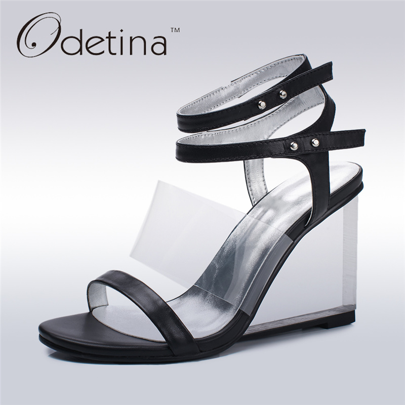 Odetina New Brand Genuine Leather Women Wedges High Heels Ankle Strap Sandals Elegant Summer Shoes Transparent Sandals Open Toe woman fashion high heels sandals women genuine leather buckle summer shoes brand new wedges casual platform sandal gold silver