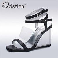 Odetina New Brand Genuine Leather Women Wedges High Heels Ankle Strap Sandals Elegant Summer Shoes Transparent