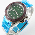 Керамические безель с зеленым циферблатом Bliger 40 мм  светящиеся стеклянные автоматические часы saphire для мужчин