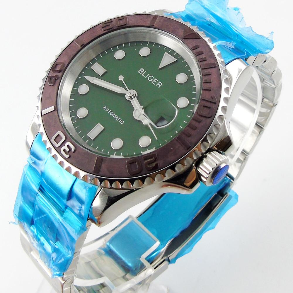 Bliger 40mm green dial date coffee Ceramics Bezel luminous saphire glass Automatic movement Men's watch цена и фото