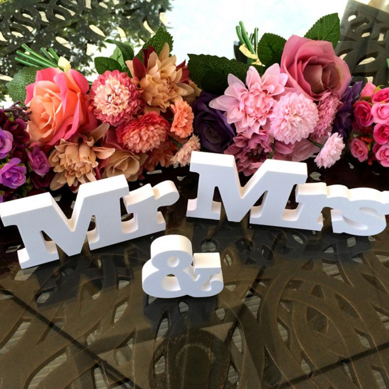 Mr&Mrs+LOVE Wooden Letters Wedding Reception Sign Solid Table Centrepiece Decor