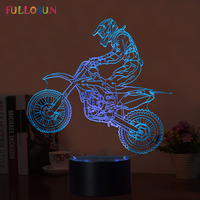 Fullosun Novelty 3D Table Lamp 3D Motocross Bike Night Lights LED USB 7 Colors Sensor Desk