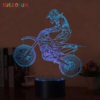 Fullosun Novelty 3D Table Lamp 3D Motocross Bike Night Lights LED USB 7 Colors Sensor Desk