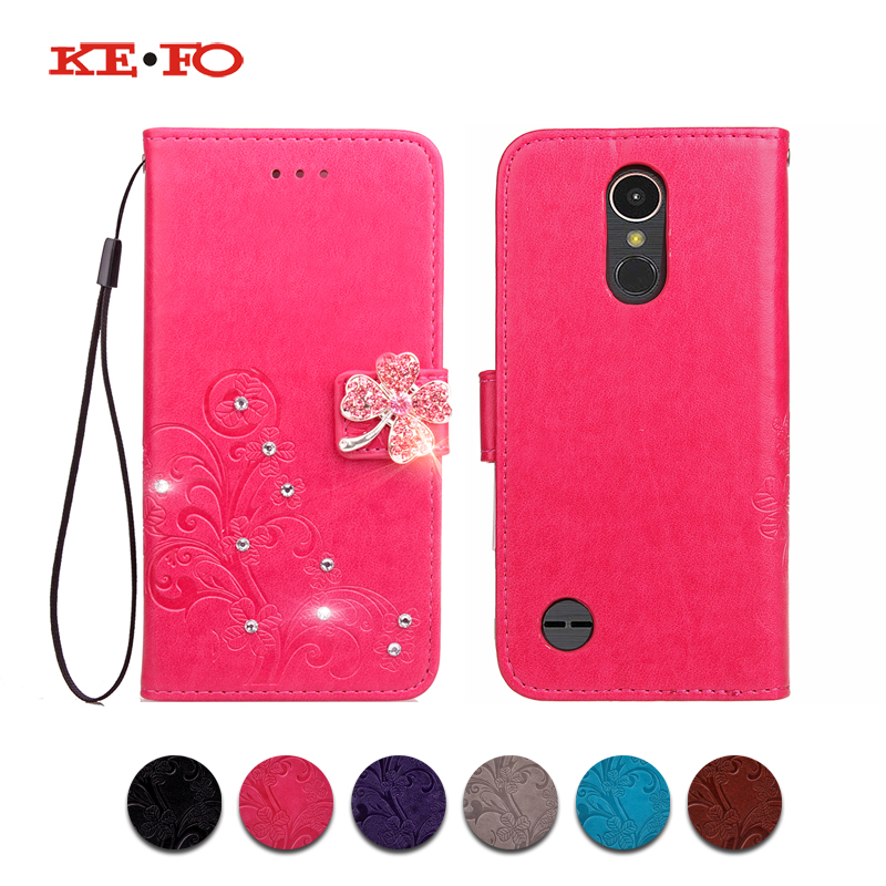 KEFO Luxury For <font><b>LG</b></font> K3 lte <font><b>K4</b></font> K5 K8 K10 2017 V20 V30 C40 L70 Case 3D Embossing Pattern Book Style <font><b>Cover</b></font> Bling Glitter Coque image