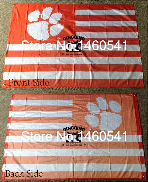 Clemson Tigers Stripes Flag 3ft X 5ft Polyester NCAA Clemson Tigers Banner  Flying Size No.