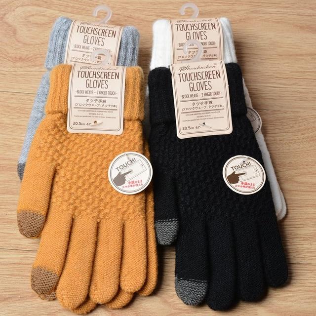 Winter Touch Screen Gloves Women Men Warm Stretch Knit Mittens Imitation Wool Full Finger Guantes Female Crochet Luvas Thicken 3