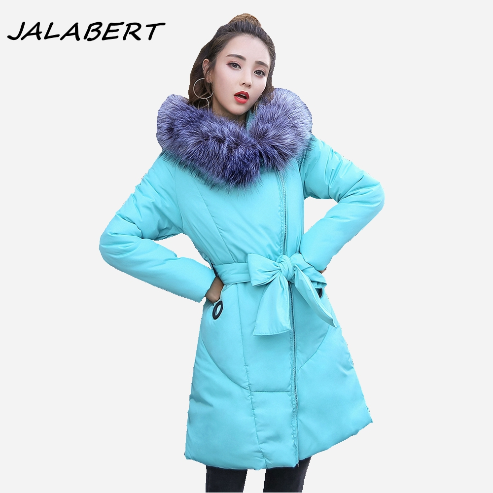 New Winter Thick Oblique Zipper 2017 Women Hooded Big Fur Collar Belt Bow Warm Jacket Female Pocket Slim Solid Cotton Parkas 2017 new winter women cotton slim coats female short thick fur collar hooded warm solid zipper jacket parkas
