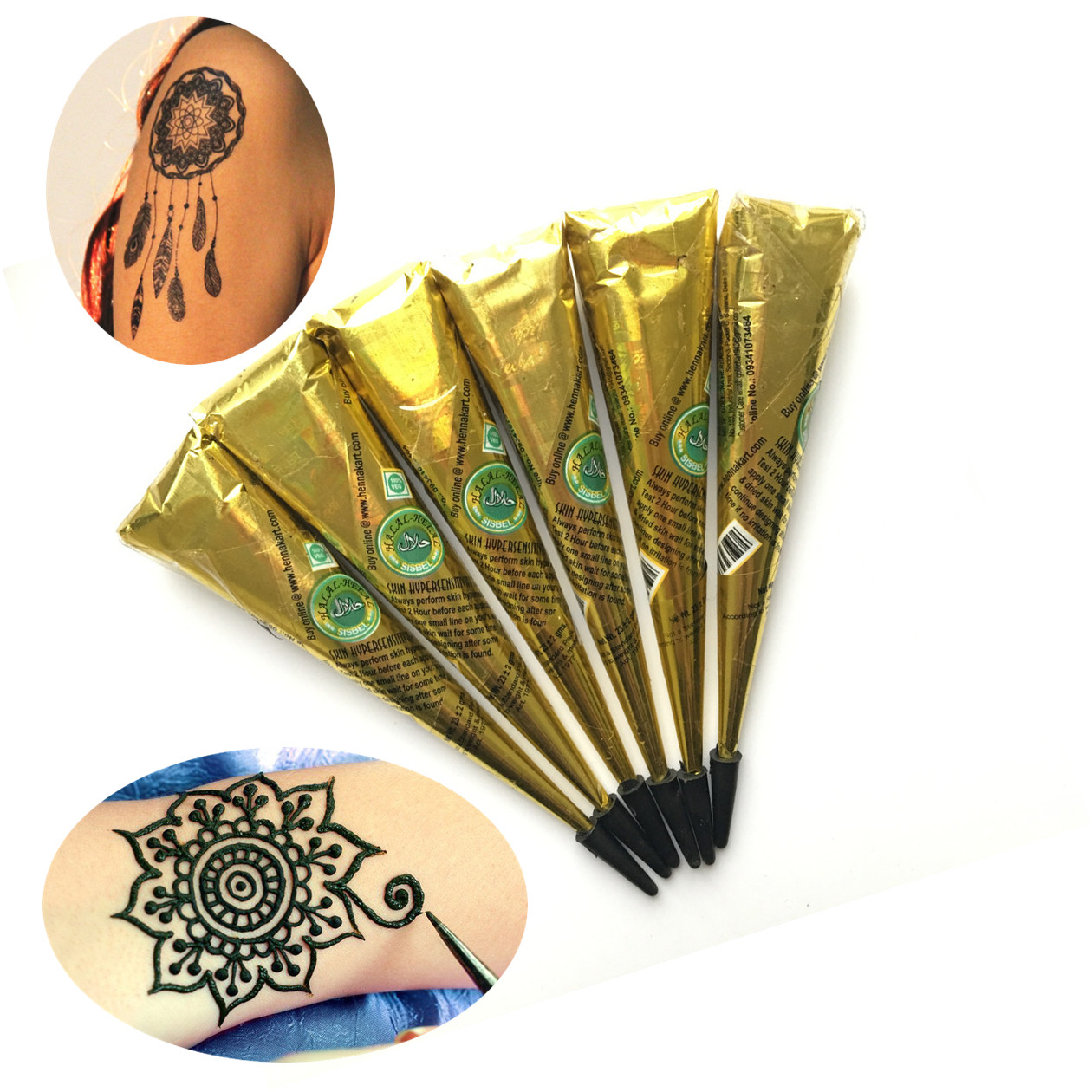 Inflicting Ink Tattoo Henna Themed Tattoos: 6PC/LOT Waterproof Henna Tattoo Paste Cones Brown Ink