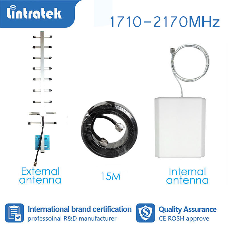 Lintratek 3G 4G Full Set Booster Accessories Antenna For Signal Booster Amplifier 850 1800 1900 2100 1700 Mhz 15meter Cable  S4