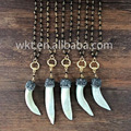 Wholesale black rosary wolf tooth horn tusk necklace, bohemain gypsy teeth horn tusk necklace WT-NV002