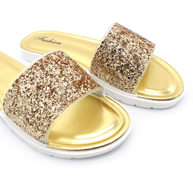 CBJSHO Summer Flat Slippers for Women Slip on Glitter Slippers Female  Casual Sandals Slippers Beach Peep Toe Woman Bling Slides-in Slippers from Shoes  on ... 0caa9a447247