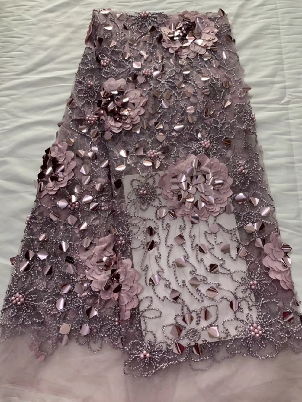Lates African Lace Fabric French Sequins Net Lace Noble Gold Sequins Fabrics High Quality African Pink
