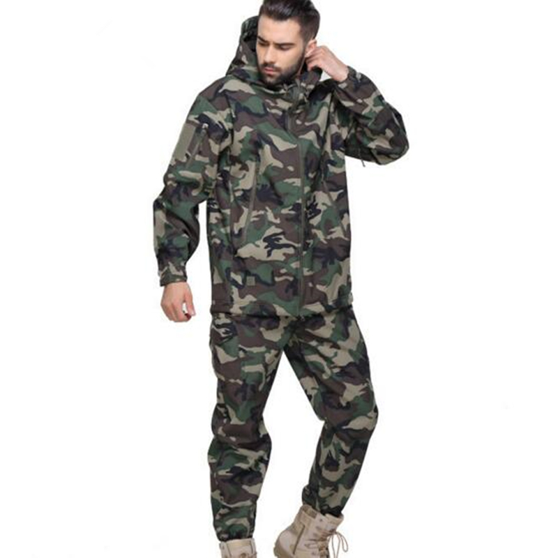 Men Tactical Jungle Camouflage Jacket Set Coat Shark Skin Softshell Jacket Waterproof Hoody Camo Military Army Clothes Suit