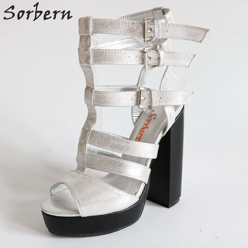 Silver T-Strap Women Sandals Square High Heels Womens Shoes In Small Sizes Zapatilla Mujer Sexy Lady Shoes New Customized HeelsSilver T-Strap Women Sandals Square High Heels Womens Shoes In Small Sizes Zapatilla Mujer Sexy Lady Shoes New Customized Heels