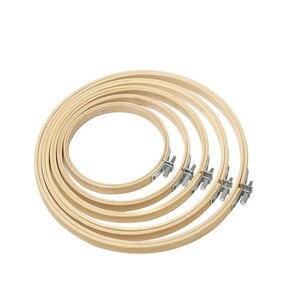 Image 4 - 5 stücke Holz Runde Einstellbare Bambus Hoops Themen Schere Nadeln Nähen Zubehör Kreuz Stich Hoop Stickerei Hoop