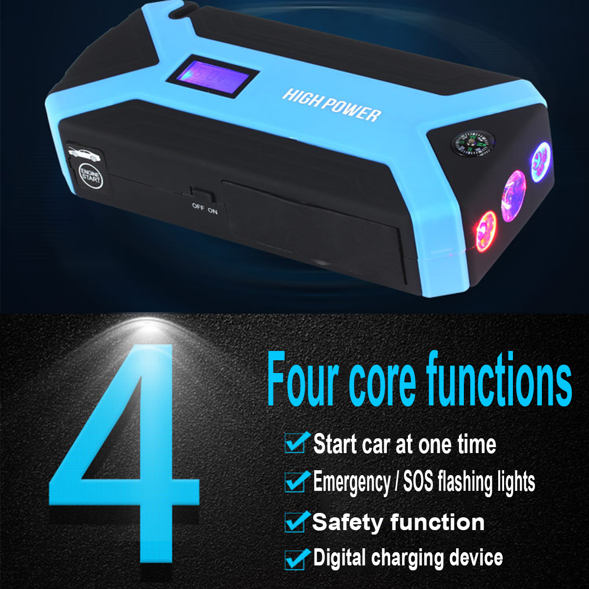 Portable 69800mAh 12V 4USB Car Jump Starter Device Booster Charger Battery Power Bank LED Flashlight For Car Battery Charger car jump starter emergency 69800mah 12v starting device 4usb sos light mobile power bank car charger for car battery booster led