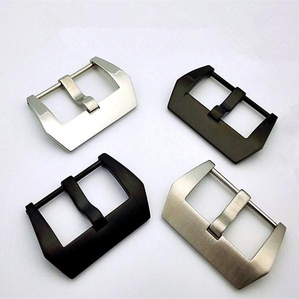 10 шт./лот, пряжка для часов из нержавеющей стали, серебристая и черная, тусклый лак и гладкая полировка, 20 мм, 22 мм, 24 мм, 26 мм
