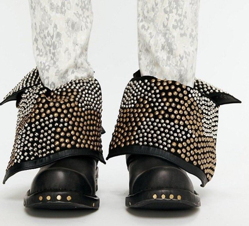 Punk Women Rivets Studs Down Collar Ankle Boots Retro Leather Belt Fasten Buckle British Style Boots Low Heels Short Bottines