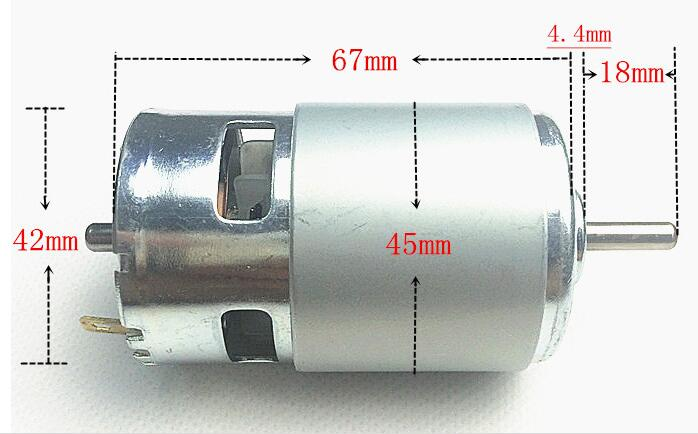 Front and rear double ball bearing font b 775 b font DC motor 24V high speed