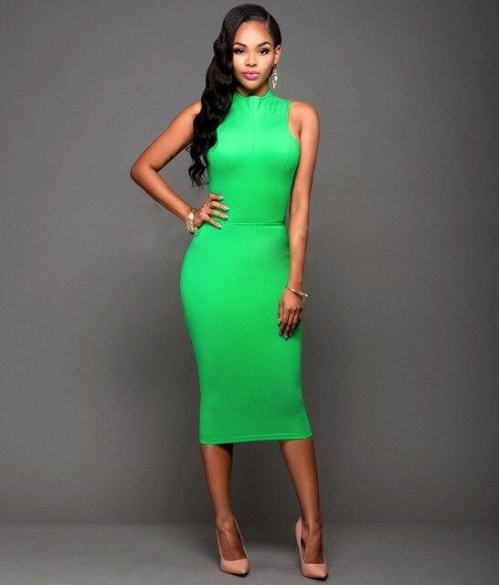 dc3694c34bc Mode été Sexy vert licou sans manches femmes robe Bandage moulante Desigual  Vestidos Clubwear fête crayon