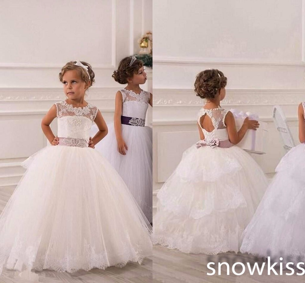 High Quality French Alencon Lace Open Back Beaded Crystals Blings Ball Gown First Communion Flower Girl dresses Kids Gowns