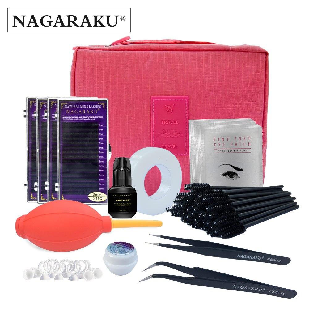 NAGARAKU новый комплект ресницы расширение для начинающих, модные ресницы расширение набор с клеем, площадку для глаз, лента eyelahes brusth