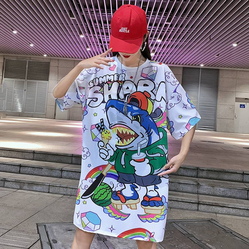 2019 Summer Maternity Dress Cartoon Print Short-sleeved Bottoming Shirt Loose Personality In The Long Section T-shirt Pregnancy