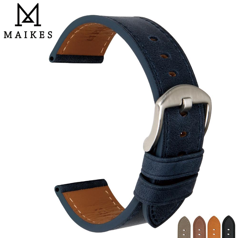 MAIKES Montre Accessoires Montre Bande 22mm Montre Bracelet 24mm Véritable En Cuir Bleu Montre Bracelets leatherman Bracelet Pour Omega
