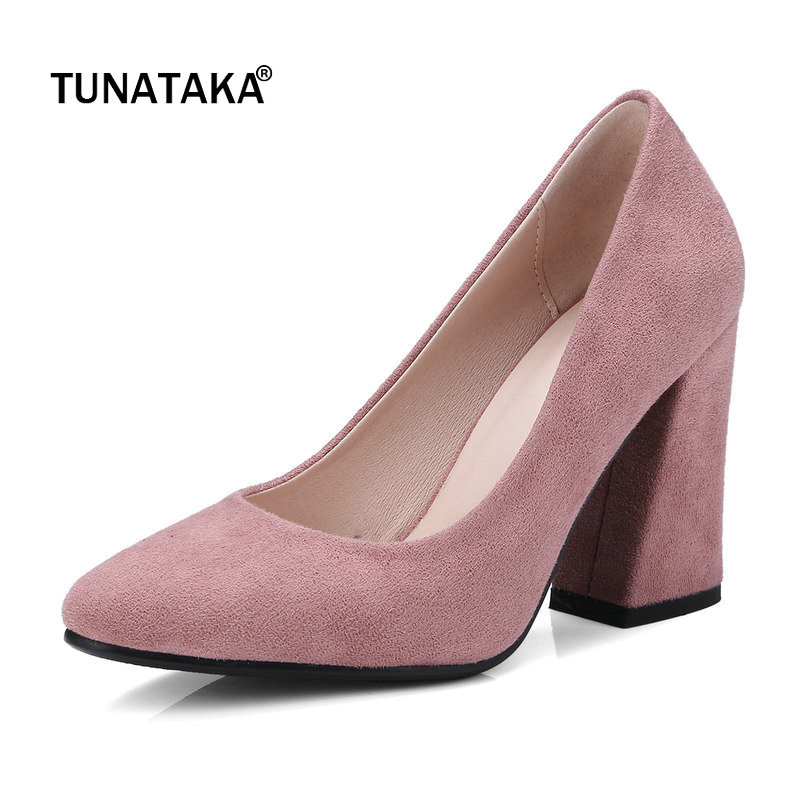 Faux Suede Hoof High Heel Woman Lazy Pumps Fashion Pointed Toe Dress High Heel Shoes Woma Shoes Black Pink Beige