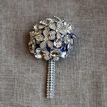 Fashion Bridal Bridesmaid Flower Wedding Bouquet Artificial Rose Crystal Bouquets