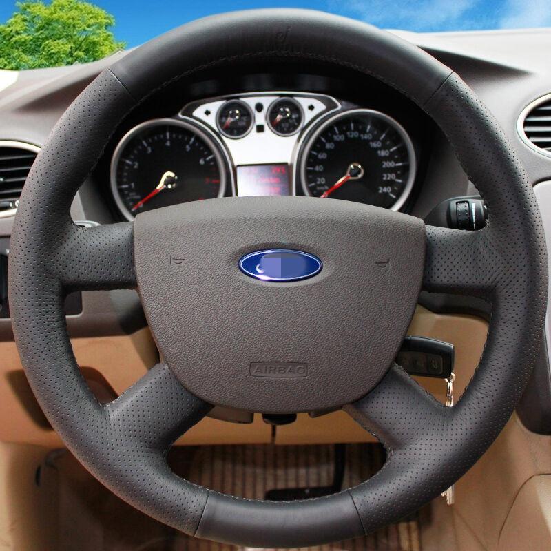 BANNIS must kunstnahast DIY käsitsi õmmeldud rooliratta kate Ford - Auto salongi tarvikud - Foto 3