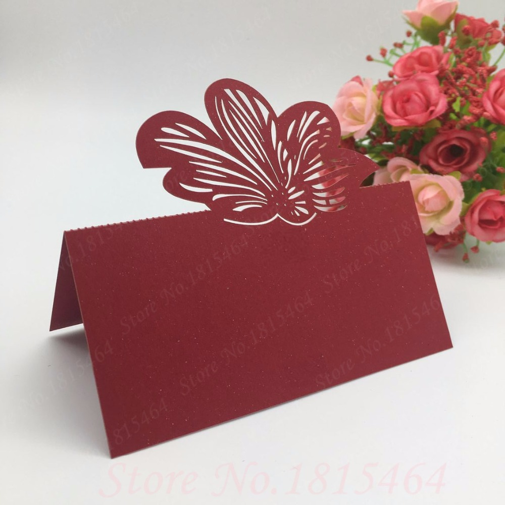 50pcs DIY Flower Table Name Cards Place Cards Laser Cut Banquet ...