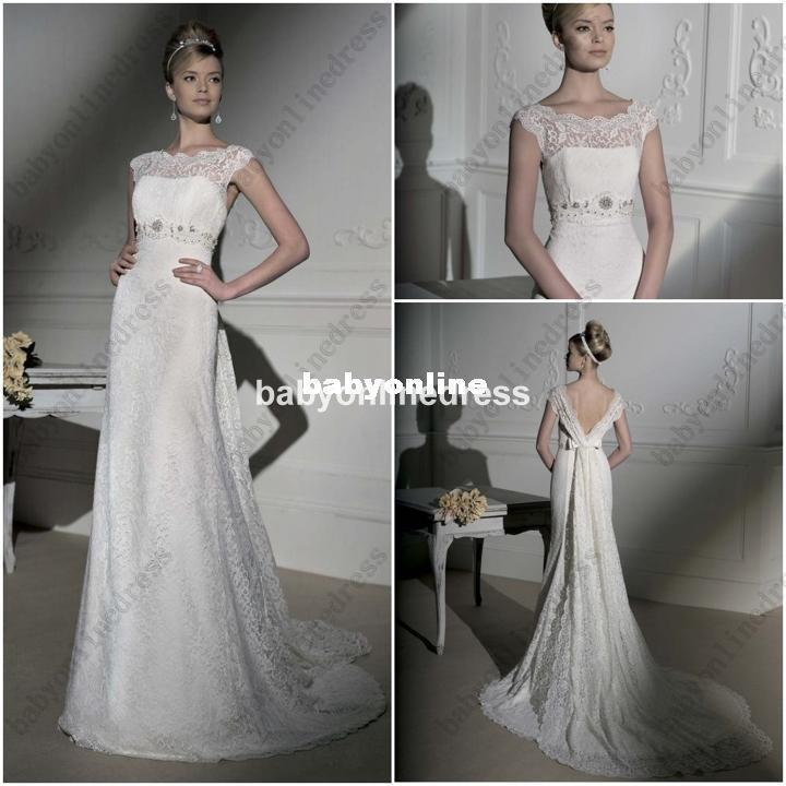 Discount Designer Wedding Gowns: 2014 Elegant Lace Strap Curved Neckline Discount Cheap