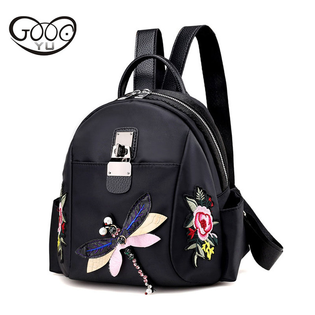 b39ae5dd1c45 Для женщин Стиль Этническая Стиль цветок вышитая сумка со стразами Дракон  скота OX ретро моды рюкзак
