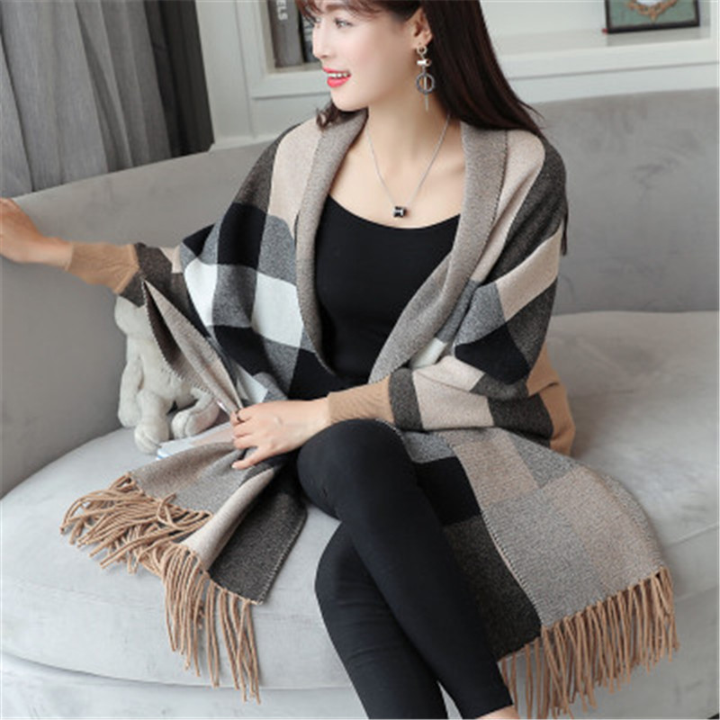 Print Sweater Cardigans Winter Clothing Knitted Elegant Stripe Plus-Size High-Quality
