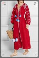 Mori chica otoño primavera verano bohemio bordado de manga larga diseñador étnicas borlas fiesta vestidos robe gown dress