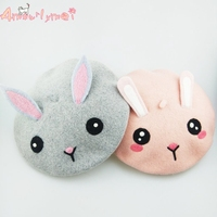 Amourlymei Japanese Style Mori Girl Lolita Cute Rabbit Ears Cartoon Beret Hats For Women Winter Hats New Style Boina Feminino