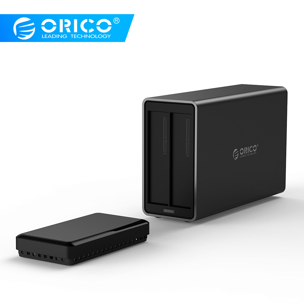 ORICO NS200-U3 2 Bay USB3.0 Hard Drive Dock Support 20TB Storage 5Gbps 12V4A Adapter Tool Free Large Capacity HDD Enclosure