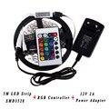 5M SMD3528 5050 Flexible RGB LED Light Strip No Waterproof Tape Ribbon Lighting DC12V Power Supply 24Keys IR Remote Controller
