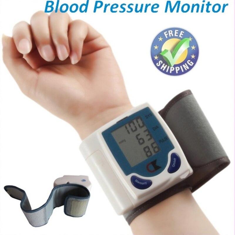 Цифров преносим маншет китката монитор за кръвно налягане сърдечен ритъм LCD дисплей машина автоматичен сфигмоманометър здравеопазване