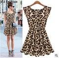 Бесплатная доставка Горячей! платье без рукавов 2015 ветер леопарда сексуальная красивая женщина и летом классический ретро-стиле цвет Платья