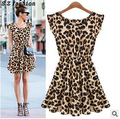 free shipping Hot! A sleeveless dress 2015 wind leopard sexy beautiful woman and summer classic retro style color Dress