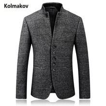 KOLMAKOV 2017 new high quality single breasted Men's wool suit blazer,Winter stand collar wollen thick jacket blazers coat men.(China)