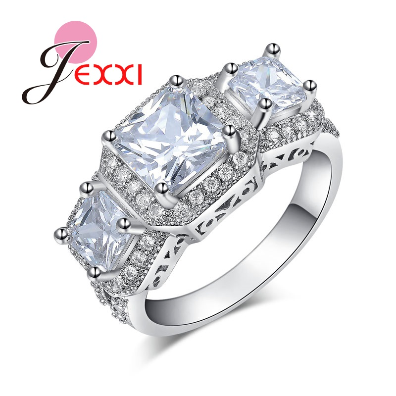 JEXXI Super Luxury Jewelry 3 White Square Crystals Sterling Silver Rings For Women Wedding Engagement Party Free Shipping